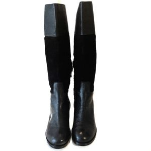 Max Studio Black Fine Leather Tall Boots Size 7